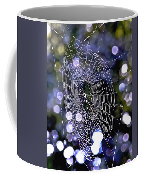 Spider Coffee Mug featuring the digital art Woven Devotion by DigiArt Diaries by Vicky B Fuller