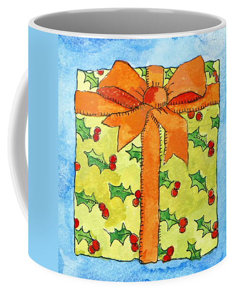 Present Coffee Mug featuring the painting Wrapped Gift by Jennifer Abbot