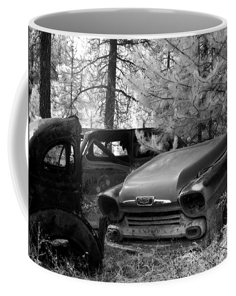 B&w Coffee Mug featuring the photograph Wrecking Yard In Infrared 1 by Lee Santa