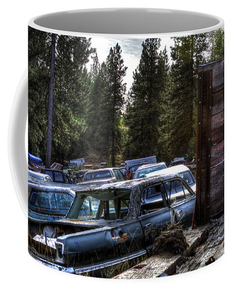Cars Coffee Mug featuring the photograph Wrecking Yard Study 22 by Lee Santa