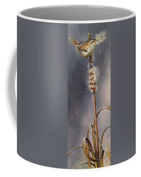 Marshwren Coffee Mug featuring the painting Wren And Cattails by Greg and Linda Halom