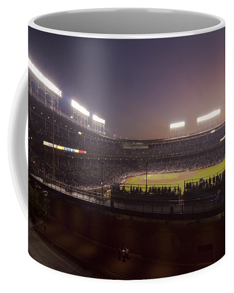 Cubs Coffee Mug featuring the photograph Wrigley Field At Dusk 2 by Sven Brogren