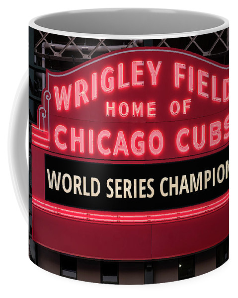 ae8eaa8301 Wrigley Field Marquee Cubs World Series Champs 2016 Front Coffee Mug for  Sale by Steve Gadomski