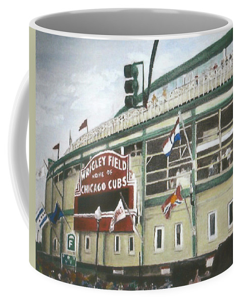 Wrigley Field Coffee Mug featuring the painting Wrigley Field by Travis Day