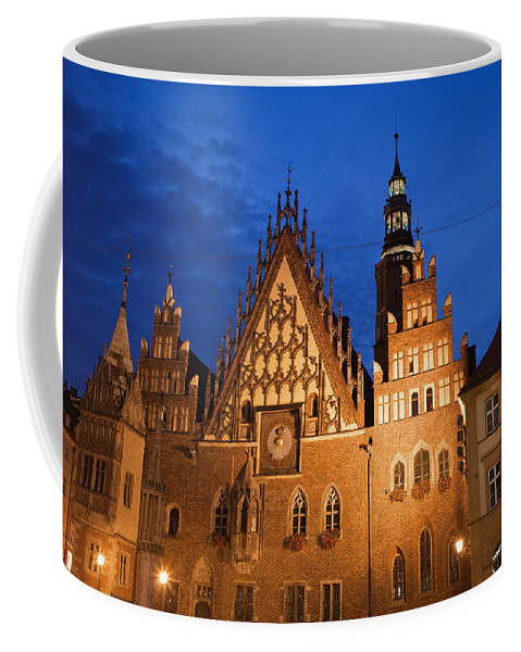 Wroclaw Coffee Mug featuring the photograph Wroclaw Old Town Hall At Night by Artur Bogacki