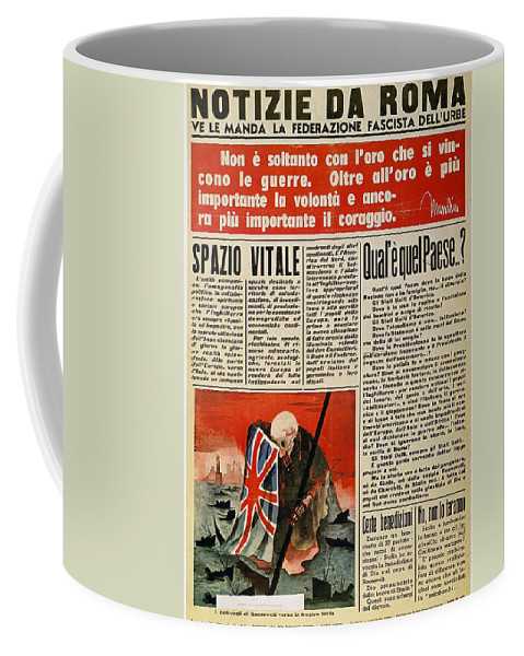 1942 Coffee Mug featuring the photograph Wwii: Italian Newspaper by Granger