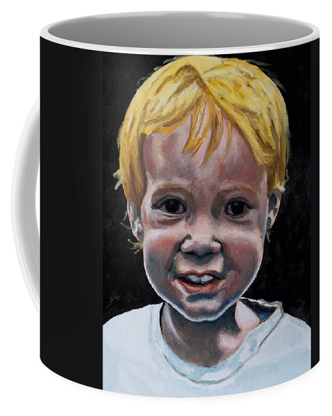 Boy Coffee Mug featuring the painting Wyatt by Jean Haynes