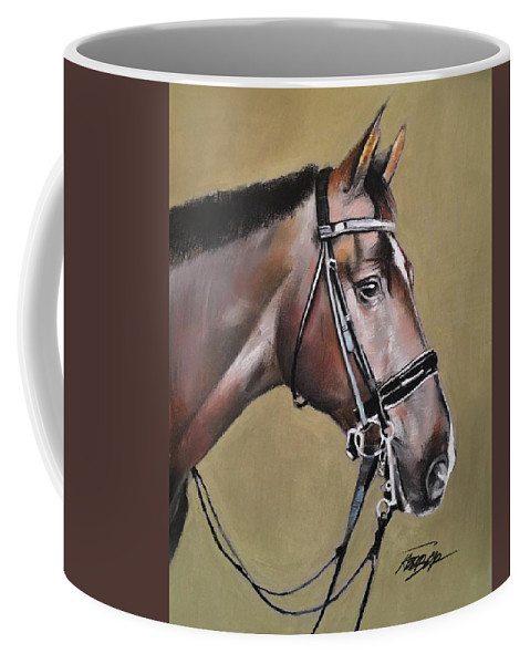 Thoroughbred Coffee Mug featuring the pastel Wynston by Anthony Hedrick
