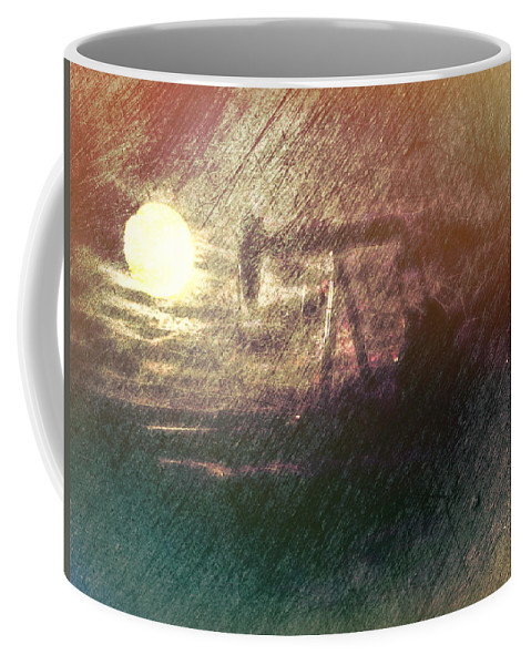 Coffee Mug featuring the digital art Wyoming Pump Jack by Cathy Anderson