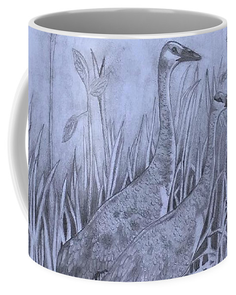 Wyoming Coffee Mug featuring the drawing Wyoming Sandhill Cranes by Amber Nation