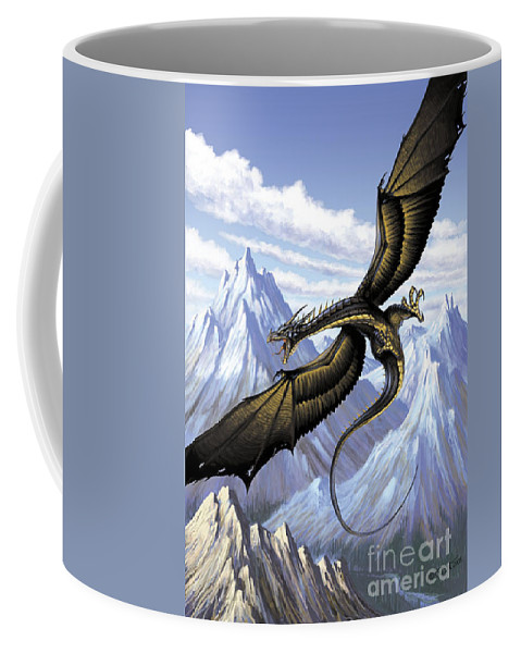 Fantasy Coffee Mug featuring the digital art Wyvern by Stanley Morrison