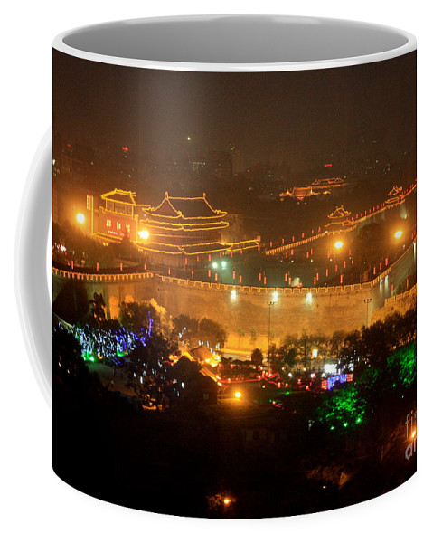 City Skyline Coffee Mug featuring the photograph Xian City Lights by Carol Groenen