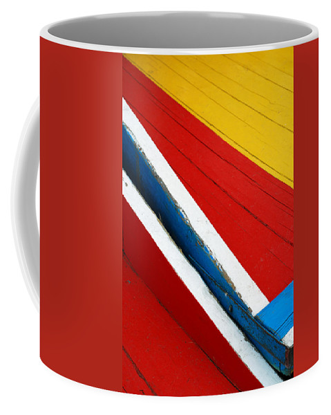 Red Coffee Mug featuring the photograph Xochimilco Boat Abstract 1 by Skip Hunt