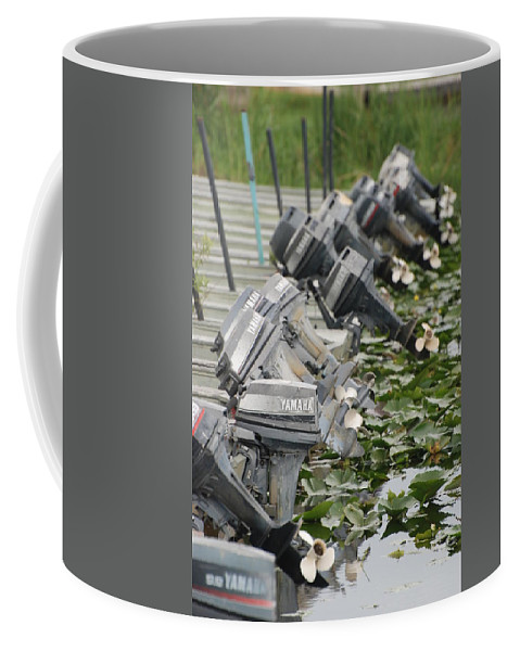 Boats Coffee Mug featuring the photograph Yamaha Outboards by Rob Hans