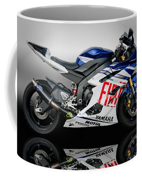 Yamaha Coffee Mug featuring the photograph Yamaha Rossi Rep by Carl Shellis