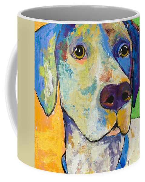 German Shorthair Animalsdog Blue Yellow Acrylic Canvas Coffee Mug featuring the painting Yancy by Pat Saunders-White