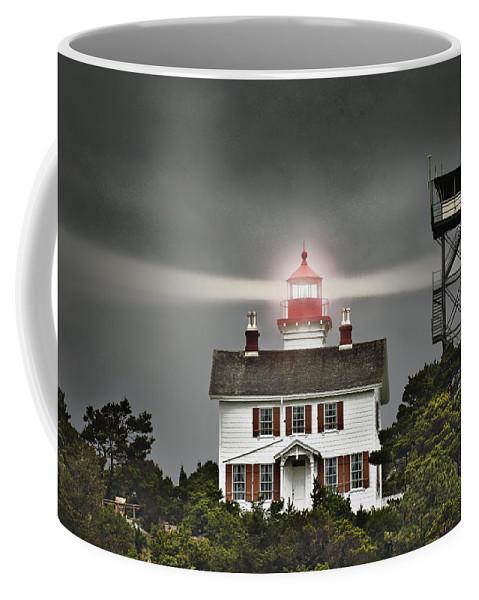 Lighthouse Coffee Mug featuring the digital art Yaquina Bay Lighthouse by John Christopher