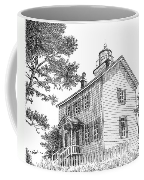 Lighthouse Coffee Mug featuring the drawing Yaquina Bay Lighthouse by Lawrence Tripoli