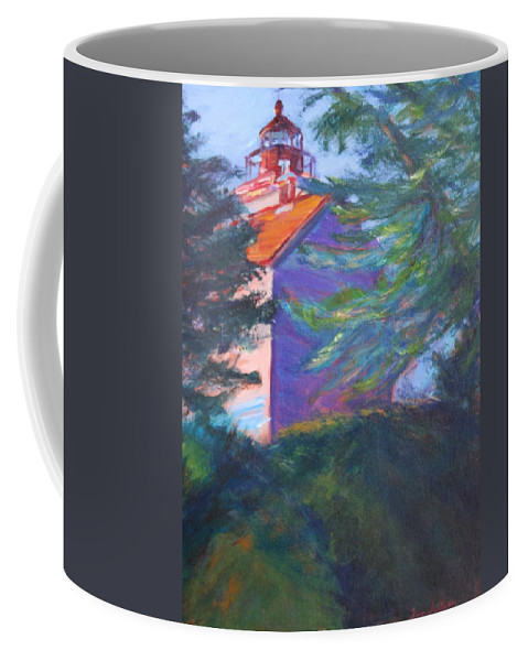 Quin Sweetman Coffee Mug featuring the painting Yaquina Bay Lighthouse by Quin Sweetman