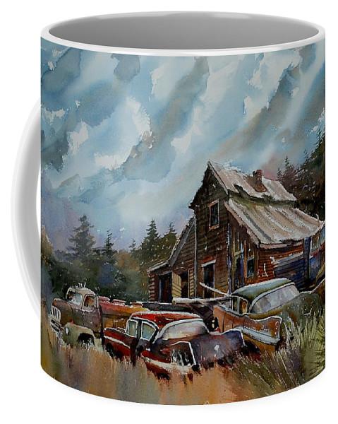 Cars Barn Wrecks Coffee Mug featuring the painting Yardmates by Ron Morrison