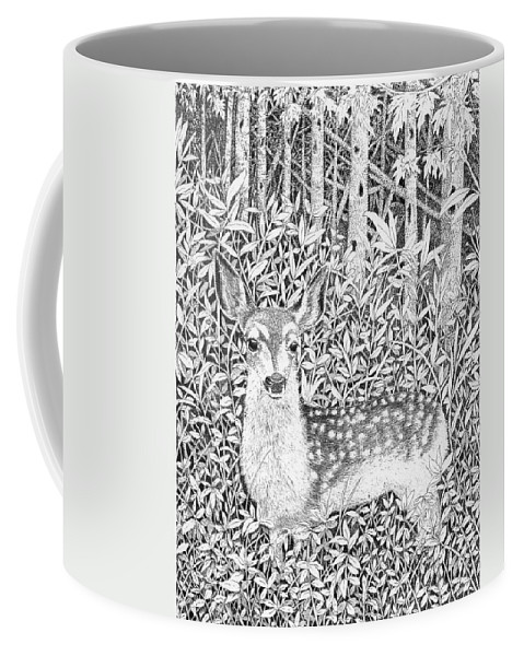 Deer Coffee Mug featuring the drawing Yearling by Lawrence Tripoli