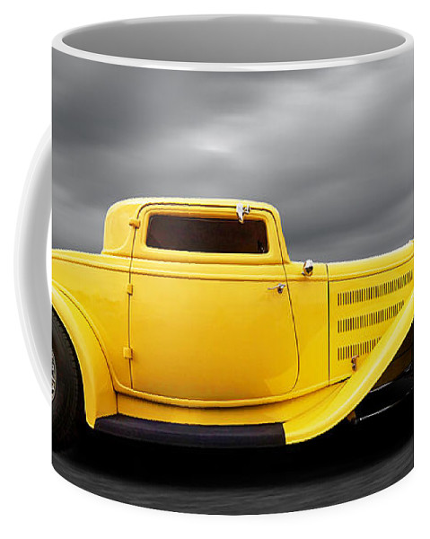 Hotrod Coffee Mug featuring the photograph Yellow 32 Ford Deuce Coupe by Gill Billington