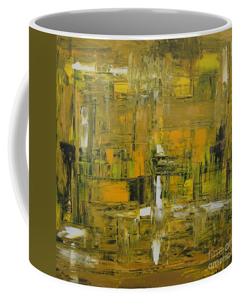 Abstract Coffee Mug featuring the painting Yellow and Black Abstract by Jimmy Clark
