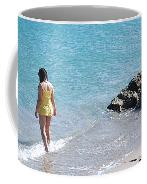 Sea Scape Coffee Mug featuring the photograph Yellow And Blue by Rob Hans