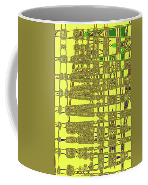 Yellow And Brown Lines Coffee Mug featuring the digital art Yellow And Brown Lines by Tom Janca