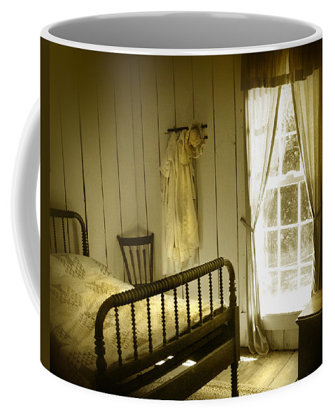 Bedroom Coffee Mug featuring the photograph Yellow Bedroom Light by Mal Bray