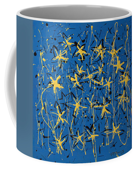 Abstract Painting Coffee Mug featuring the painting Yellow Blue by J R Seymour