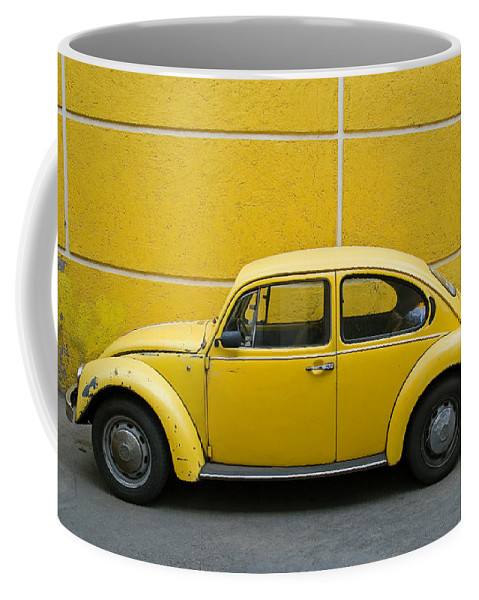 Yellow Coffee Mug featuring the photograph Yellow Bug by Skip Hunt