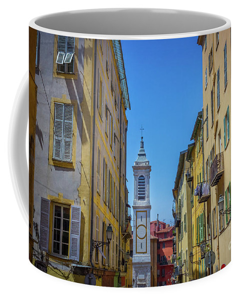 Bright Colors Coffee Mug featuring the photograph Yellow Buildings And Chapel In Old Town Nice, France - Landscape by Liesl Walsh