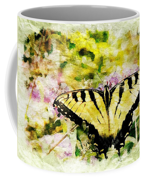 Animals Coffee Mug featuring the digital art Yellow Butterfly by Ches Black
