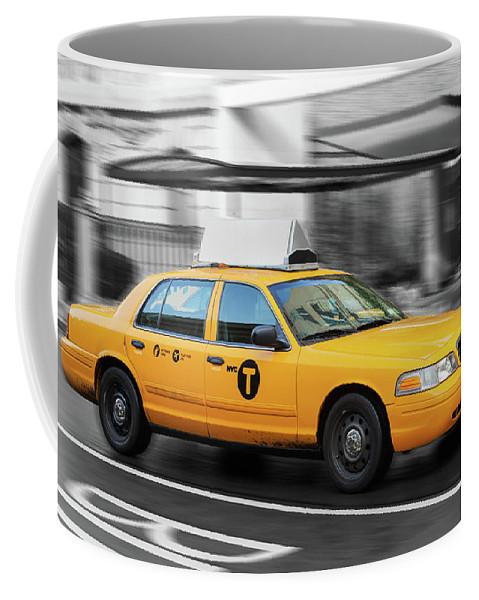 Street Coffee Mug featuring the photograph Yellow Cab In Manhattan In A Rainy Day. by Antonio Gravante