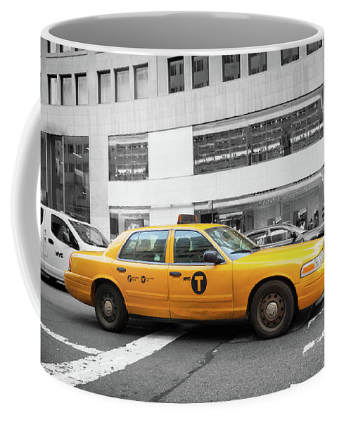 Street Coffee Mug featuring the photograph Yellow Cab In Manhattan With Black And White Background by Antonio Gravante