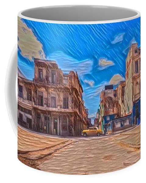 Painting Coffee Mug featuring the digital art Yellow Car In Cuba by David Frigerio