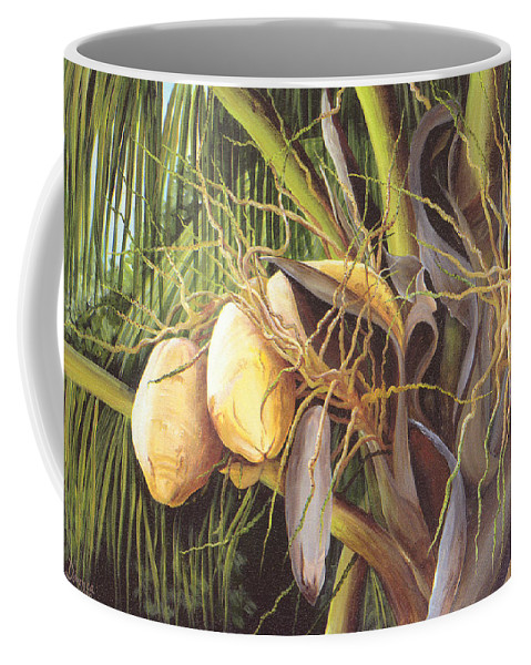 Yellow Coconuts Coffee Mug featuring the painting Yellow Coconuts From The Tropics by Dominica Alcantara