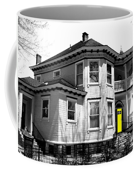 House Coffee Mug featuring the digital art Yellow Door by Will Borden