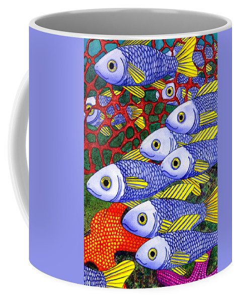 Fish Coffee Mug featuring the painting Yellow Fins by Catherine G McElroy