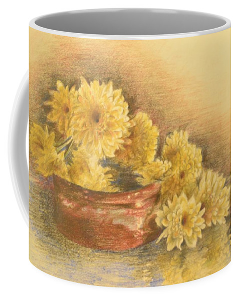 Yellow Coffee Mug featuring the drawing Yellow Flowers With Still Life by Ghada Ibrahim