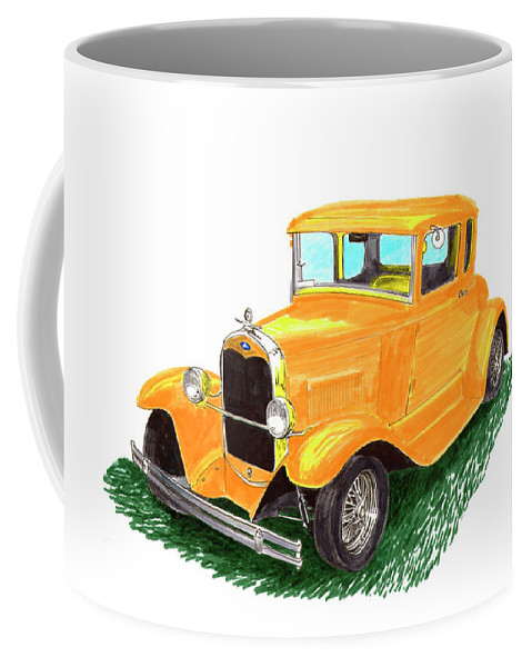 A Watercolor Painting By Jack Pumphrey Of A 1930-ish Yellow Ford Coupe Coffee Mug featuring the painting 1932 Yellow Ford Hot Rod Coupe by Jack Pumphrey