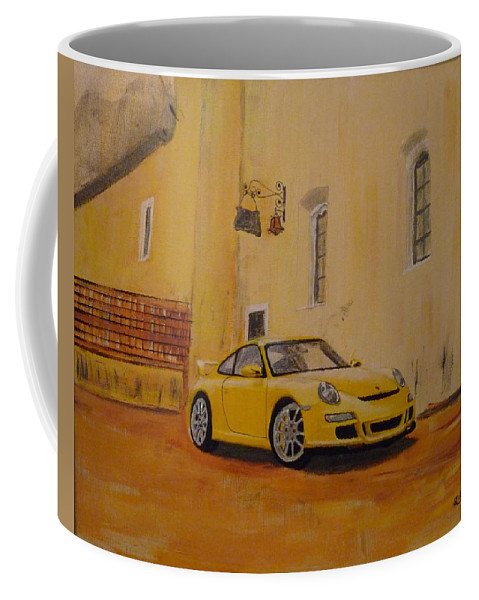 Car Coffee Mug featuring the painting Yellow Gt3 Porsche by Richard Le Page
