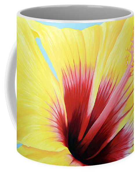 Landscape Coffee Mug featuring the painting Yellow Hibiscus by Adam Johnson