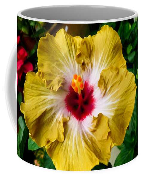 Yellow Hibiscus Flower Coffee Mug featuring the painting Yellow Hibiscus Flower 1 by Jeelan Clark