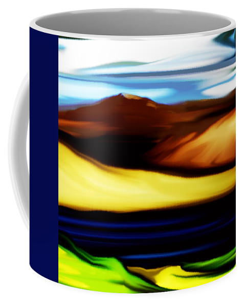 Digital Painting Coffee Mug featuring the digital art Yellow Hills by David Lane
