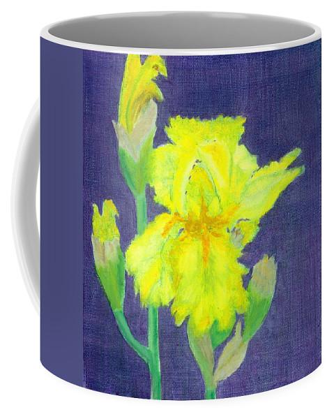 Iris Coffee Mug featuring the painting Yellow Iris by Paula Emery