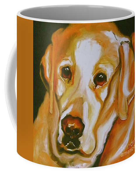 Oil Coffee Mug featuring the painting Yellow Lab Amazing Grace by Susan A Becker
