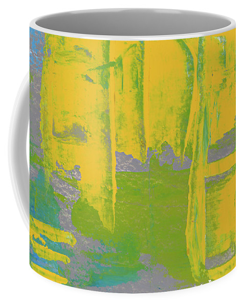 Abstract Coffee Mug featuring the painting Yellow Ladders by Tonya Doughty