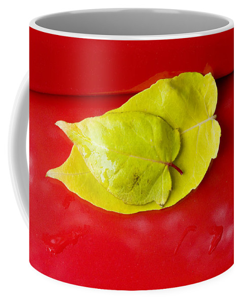 Yellow Coffee Mug featuring the photograph Yellow Leaves by Karen Ulvestad